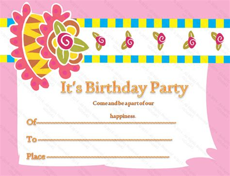 birthday invitation card template printable birthday gift certificate templates