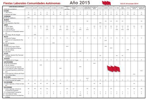 Calendario Cantabria 2015 Fiestas Laborales 2015 Por Comunidades Aut 243 Nomas Stecyl I