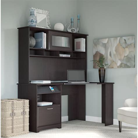 Bush Cabot 60 Quot Corner Desk With Hutch In Espresso Oak Espresso Desk With Hutch