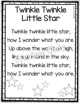 row row row your boat lyrics polar bear twinkle twinkle little star printable nursery rhyme poem