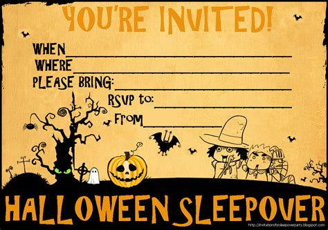 free printable halloween invitations uk invitations for sleepover party