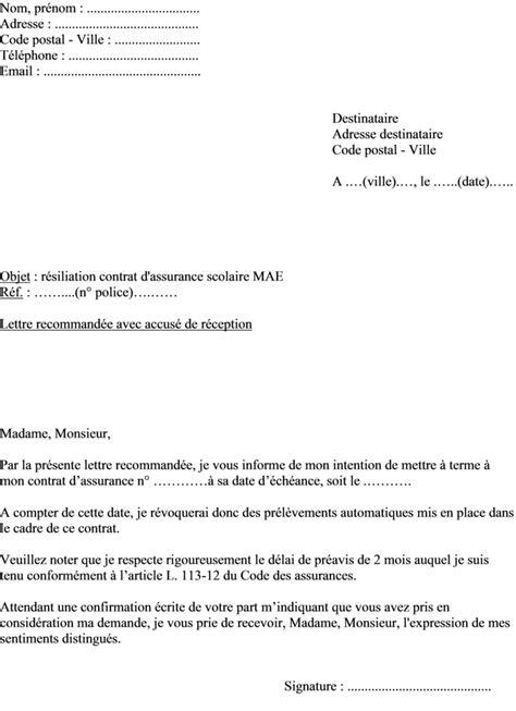 Modèle de lettre pour résilier une assurance scolaire MAE