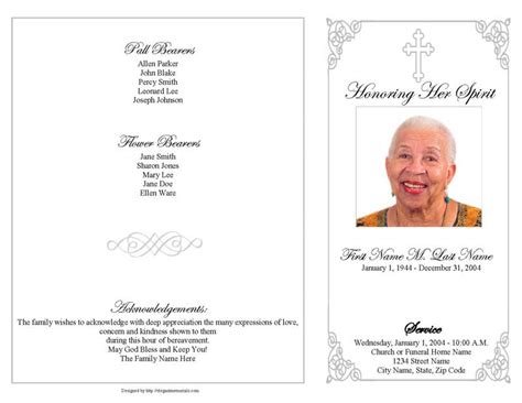 funeral programs templates funeral program template 4 page grey ornate cross