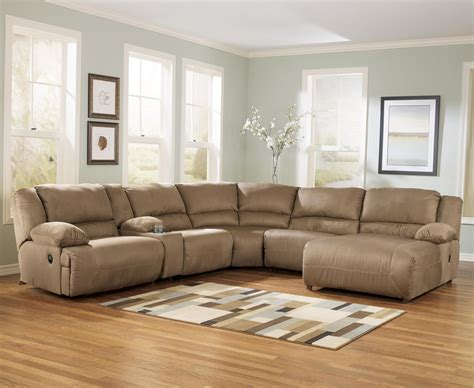 sofa with chaise and recliner signature design by ashley hogan mocha 6 piece motion