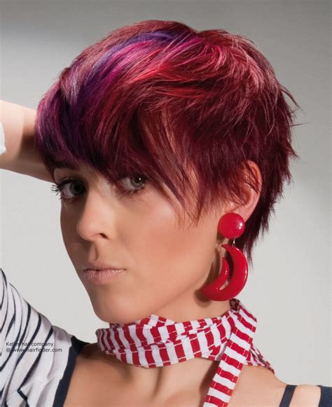 images of haircuts and color short layered haircut with bright hues purple and red