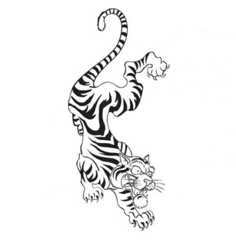 fighting tiger tattoo doodle template download free