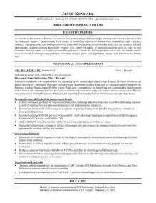 Finance Objective Resume by Exle Director Of Financial Systems Resume Free Sle
