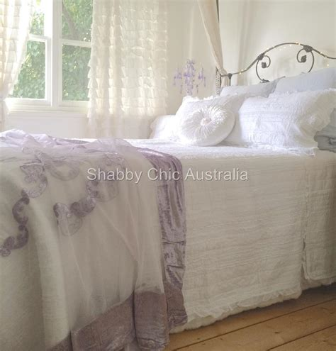 shabby bella chic french lace velvet queen king bed quilt lavender bedspread