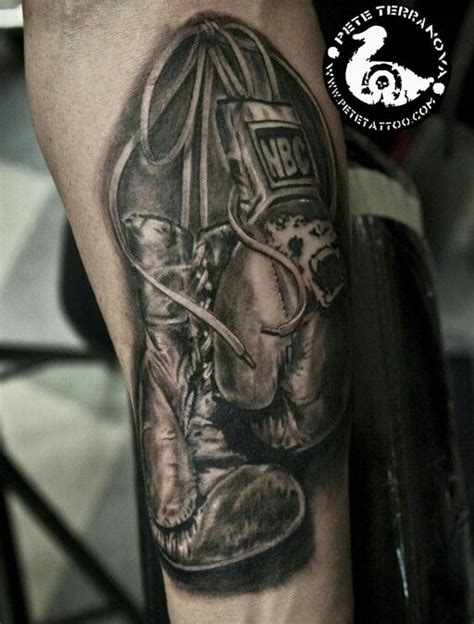 cross with boxing gloves tattoo black and gray realism boxing gloves custom