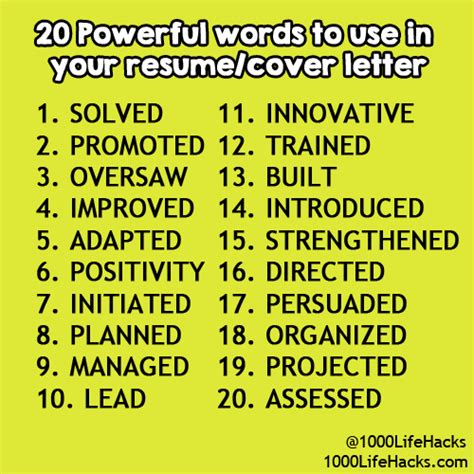 power words for cover letters 1000 hacks crafting for holidays