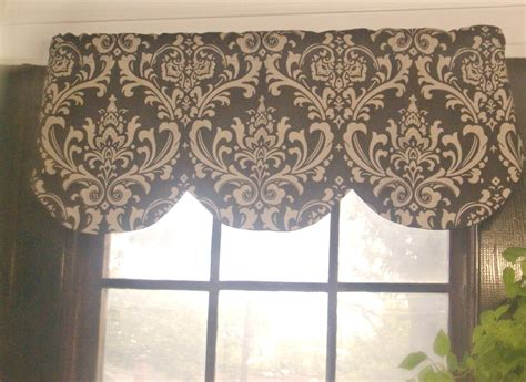 damask valance curtains window curtain valance damask brown beige linen 68 x 16 inches
