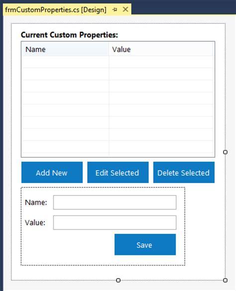 design form in outlook working with custom outlook properties c code exles