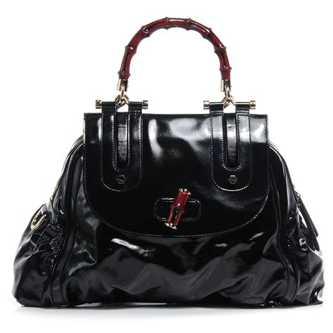 Gucci Pop Bamboo Top Handle Bag by Gucci Dialux Pop Bamboo Top Handle Tote W Black 55258