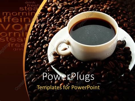 Powerpoint Template White Cup Of Coffee On Saucer With Coffee Beans On Chocolate Background 7532 Coffee Powerpoint Template