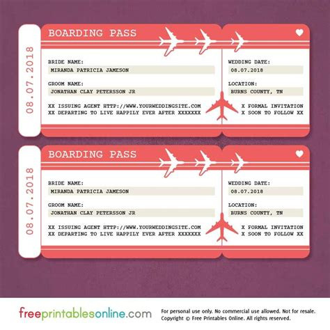Free Printable Boarding Pass Save The Date Template Wedding Ticket Template Free Boarding Pass Template