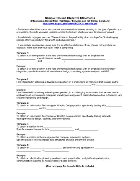 Resume Objective Exles List Sle Resume Objective Exle List To Copy For Your Resume For Any P General Resume