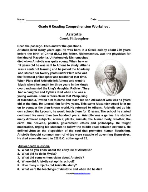 Reading Comprehension Worksheets For 6th Grade Printable For Free by Sixth Grade Reading Worksheets Worksheets Releaseboard
