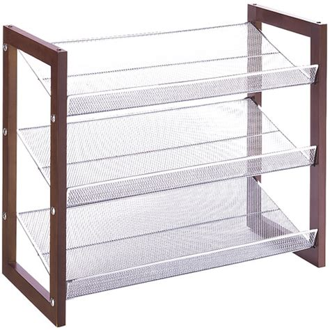 Stackable Closet Shelves by Stackable Mesh 3 Tier Shoe Shelf