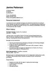 Resume Sles Nz Cv And Cover Letter Templates
