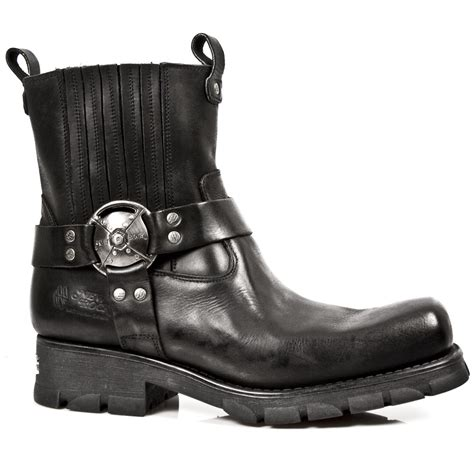 m 7605 s1 black new rock motorcycle ankle boots