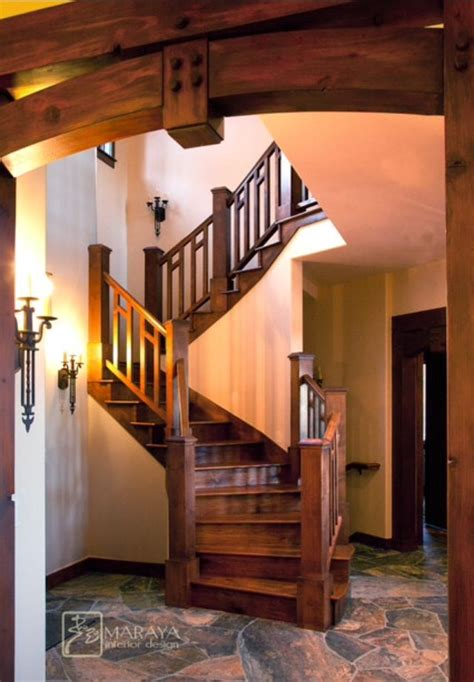 staircase   rustic home craftsman staircase