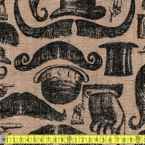patterned hessian fabric printed hessian fabric moustache frumble fabric