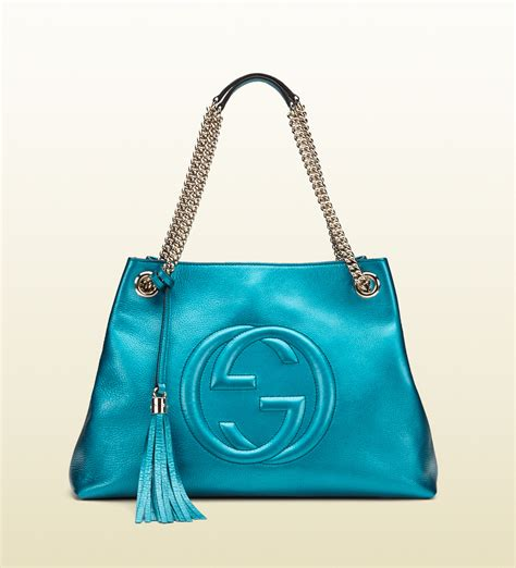 Ficcare Metallic Leather Bags by Gucci Exclusive Soho Metallic Leather Shoulder Bag