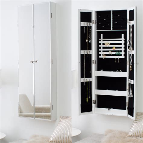 wall armoire belham living double door mirrored wall mount jewelry armoire jewelry armoires at