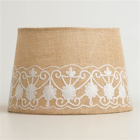 World Market L Shades by Floral Embroidered Burlap Accent L Shade World Market