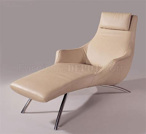Beige Leather Chaise Lounge Beige Leather Upholstery Chaise Lounge With Armrests