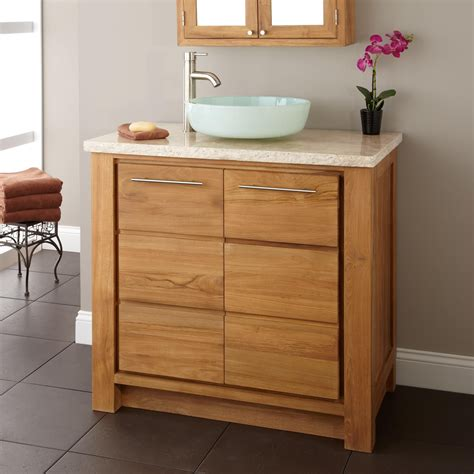 36 Quot Venica Teak Vessel Sink Vanity Natural Teak Teak Bathroom Sink With Vanity