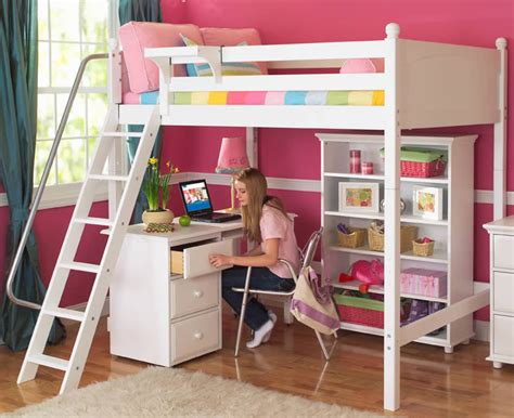 kid bed with desk white knockout high loft by maxtrix panel 500