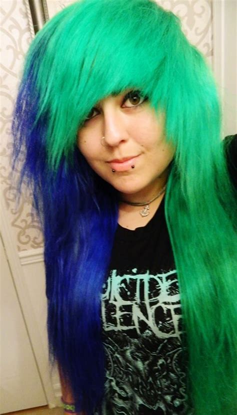 how to do bottom half hair with splat crimson obsession splat half neon green and the other half blue envy