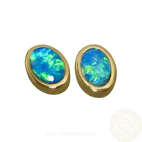 green opal earrings oval opal gold stud earrings blue green gems flashopal