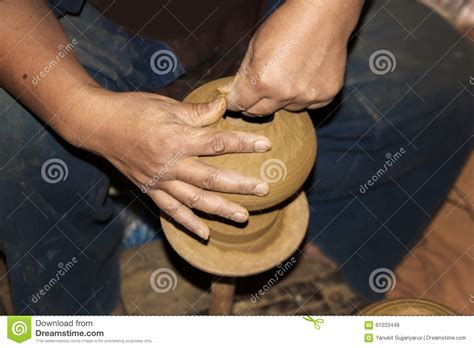Handmade In Thailand - pottery handmade in northern thailand style stock photo