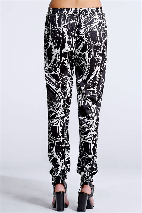 black and white patterned joggers outlet girls on film black and white splash print joggers