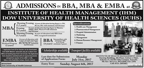 Mba Health Management Dow by Dow Of Health Sciences Duhs Bba Mba Entry Test