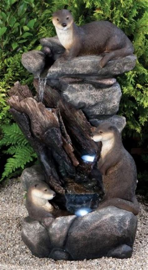 Otter Family Water Cascade With Lights £209.99