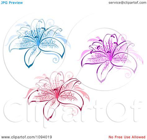Black And White Lotus Flower Tattoo - blue stargazer lily tattoo bouquet idea