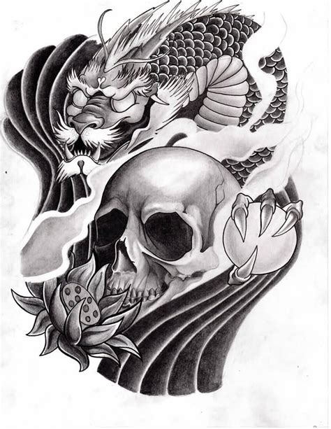 skull dragon tattoo designs koi ideas and koi designs page 3
