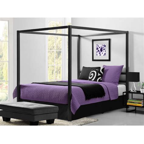 queen size queen size modern canopy bed in sturdy grey metal
