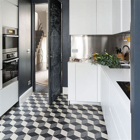 black and white kitchen floor ideas kitchen with black and white geometric flooring black