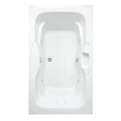 bathtub drain location aquatic morice 6 ft reversible drain acrylic whirlpool bath tub pump location 2 with heater in white 826541949055 the home depot
