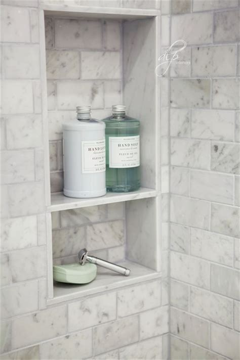 bathroom shower niche ideas chic transitional marble guest bathroom shower niche