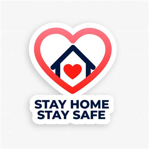 stay home  stay safe concept heart house poster