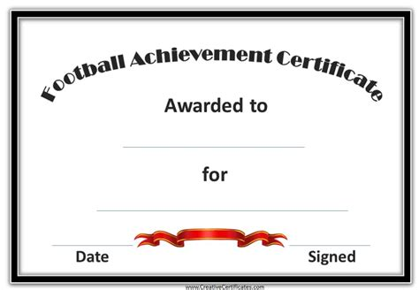 free custom football certificates