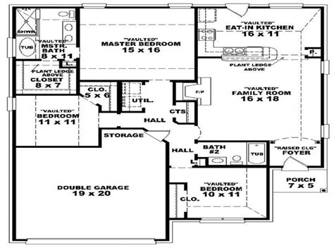 2 Bedroom 2 Story House Plans by 3 Bedroom 2 Bath 1 Story House Plans Floor Plans For 3