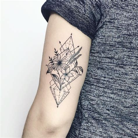 bouquet tattoo geometric bouquet black white tattoos