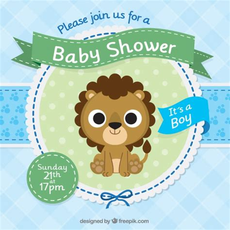 baby shower invitation template with a cute lion vector