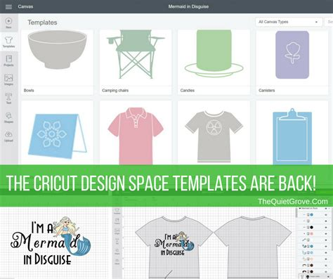 the cricut design space templates are back the quiet grove